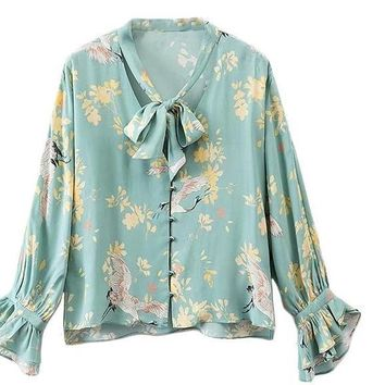 Tie Neck Blouse Women Green Flare Sleeve Floral Elegant Button Up Summer Tops Fashion Cute Ruffle Tunic Blouse
