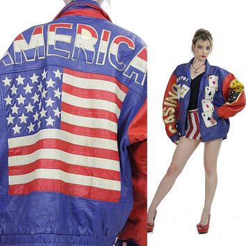 American flag jacket Vintage leather jacket Hippie jacket Casino Dice moto jacket leather jacket Red white blue jacket Biker jacket XXL