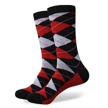 Red, Gray, and Black Dress Socks with Red Sole