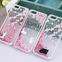 Fashion Cherry blossom rabbit Cherry blossom cat phone case for iPhone 5 5s Quicksand Phone Case for iPhone 5 5s-in Phone Bags & Cases from Phones & Telecommunications on Aliexpress.com | Alibaba Group