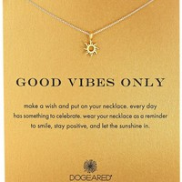 "Dogeared ""Reminder"" Good Vibes Only Sun Charm Pendant Necklace, 16"""