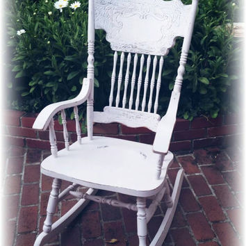 Rocking chair pink rocking chair cottage rocking chair nurser & Best Vintage Rocking Chair Products on Wanelo