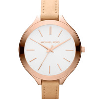 Mid-Size Nude Leather Runway Watch - Michael Kors