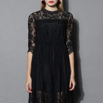 Exotic Black Lace Dress with Jewel Neckline