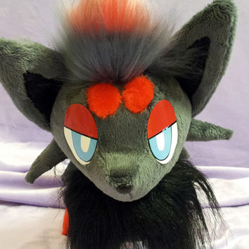 Pokemon inspired Zorua plushie (30x30 cm) made of minky and faux fur, super cuddly!