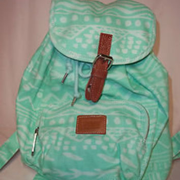 NWT Victoria's Secret LOVE PINK MINI BACKPACK AZTEC MINT GREEN SCHOOL TOTE BAG