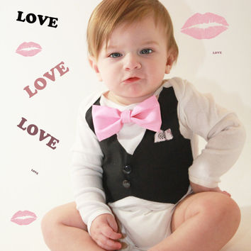 Boys Pink Bow Tie with Vest -Pink Bow Tie Bodysuit with Black Vest-Boys Wedding Apparel-Tuxedo Bodysuit-Baby Boys Tux-Option to add name