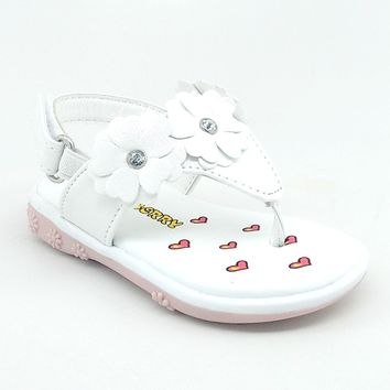 Baby White Floral Summer Sandal with Hook and Loop Strap