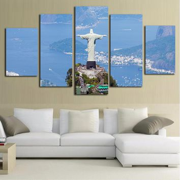 Rio Brasil Canvas Painting 5 Piece Canvas Art Photography Wall Picture for Living Room Wall Art Posters  Statue Of Jesus