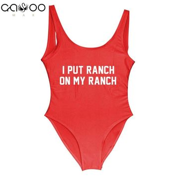 I PUT RANCH ON MY RANCH Funny Slogan Swimsuit Women 2018 New One Piece Swimsuit feminino praia swiming suit women Plus size suit