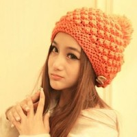 High Quality Fashion Winter Woolen Fluffy Ball 2-Button Hand Knit Beanie Hat