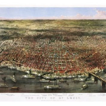 The City Of St. Louis vintage POSTER Currier & Ives 1874 24X36 scenic map
