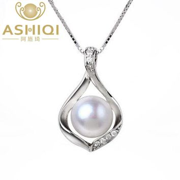 ASHIQI Real Natural Freshwater pearls necklace & Pendants 925 sterling silver 9-10mm pearl jewelry