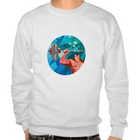 Weightlifter Snatch Grab Lifting Barbell Low Polyg Pullover Sweatshirt