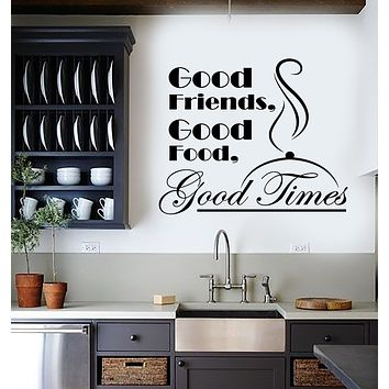 Vinyl Wall Decal Food Friends Time Eat Quote Restaurant Kitchen Stickers Mural (g153)