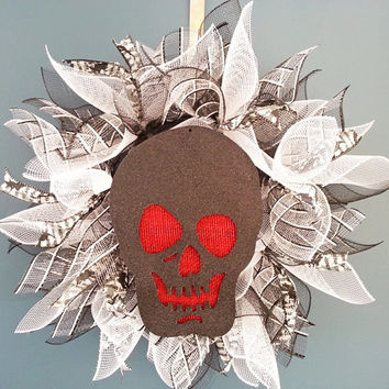 Halloween Black and White Deco Mesh Skull Wreath