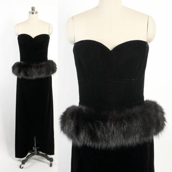 Vintage 80s Party DRESS / 1980s does 50s Strapless Black Velvet Victor Costa Gown with FOX FUR Peplum M