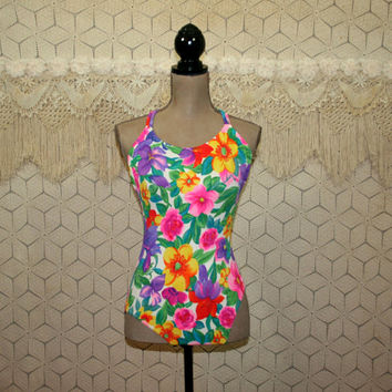 Vintage Womens One Piece Bathing Suit Colorful Floral Swimsuit XS Small Tropical High Cut Swimwear Open Back Double Criss Cross Jantzen