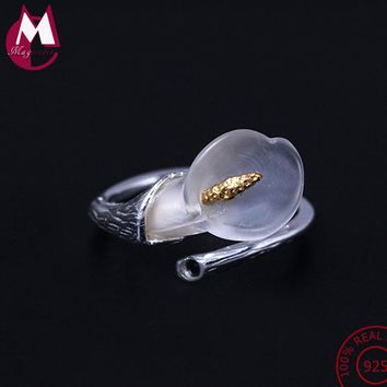 NEW 925 Sterling Silver Rings For Women Trendy Wedding Original Natural Crystal Calla Lily Flower Finger Ring Fine Jewelry YR27