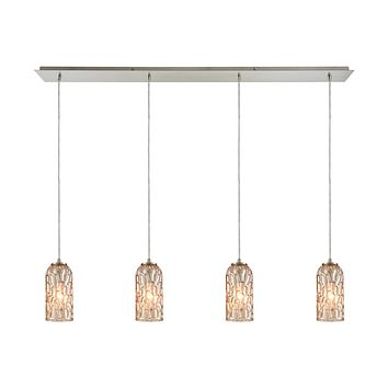Ansegar 4-Light Linear Pendant Fixture in Satin Nickel with Amber-plated Textured Glass