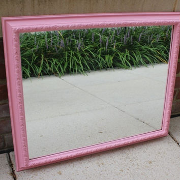 Pink wall mirror with decorative floral frame, hand-painted in custom mixed Annie Sloan chalk paint