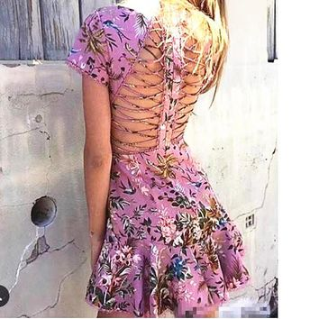 spring new drees sexy floral print fish tail dress