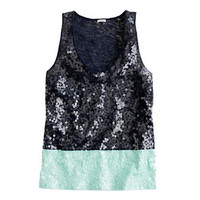 Colorblock sequin tank