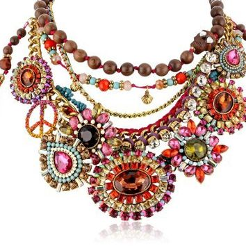 "Betsey Johnson ""St. Barts"" Multi-Colored Crystal Gem and Mixed Bead Necklace, 20"""