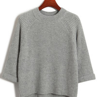 Half Sleeve Knit Ribbed Sweater