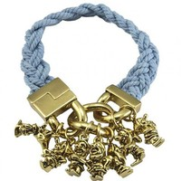 Antique Gold Plated And Blue Braided Snow White Seven Dwarves Charm Bracelet From Disney Couture : TruffleShuffle.com