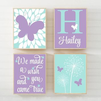 DANDELION BUTTERFLY Nursery Wall Art, We Made A Wish Quote, Baby Girl Decor, Bedroom Pictures Canvas or Print Set of 4 Decor Aqua Lavender
