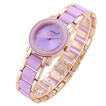 Fashion Quartz Crystal Two Tone Bracelet Ladies Watch