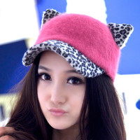 Autumn Winter Cute Women Rabbit's Hair Beanie Hat Cat Ear Baseball Cap