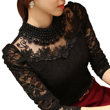 2017 New Fashion Plus Size Women's Shirts Stand Pearl Collar Lace Crochet Blouse Shirts Long Sleeve Sexy Tops Women Clothing 3XL