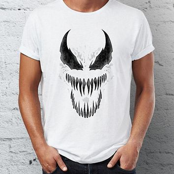 Men's T Shirt Venom Spiderman Black and White Marvel Badass Tee