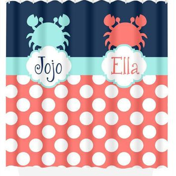 SHOWER CURTAIN Custom Monogram Ocean Nautical CRAB Navy Coral Aqua Brother Sister Bathroom Bath Towel,  Bath Mat