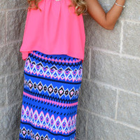 Walk Like An Egyptian Maxi Skirt · Haute Pink