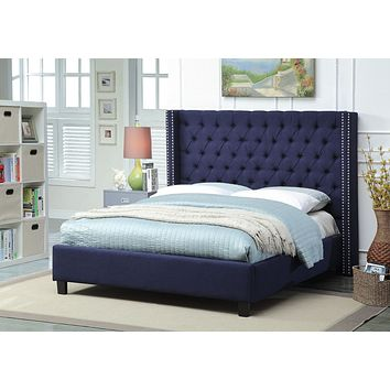Ashton Navy Linen King Bed