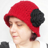 Crochet 1920's Inspired Cloche Hat in Red Boucle with Black Rose, ready to ship.