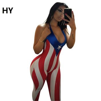 New One Pieces 2017 Romper Playsuit V-Neck Sleeveless Bodycon Cotton Rompers Women Usa National Flag New Beachwear Jumpsuit