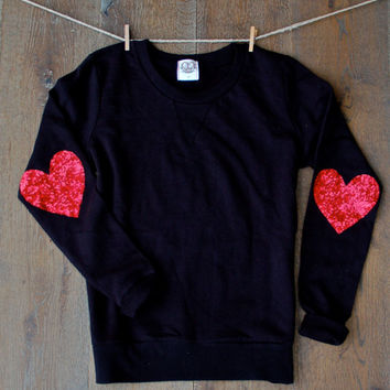 Sequin Elbow Patch Sweatshirt Jumper Sequin Heart Elbow Patch Heart Sparkly Elbow Patch Gift Ideas for Her Teens Elbow Patch Sweater