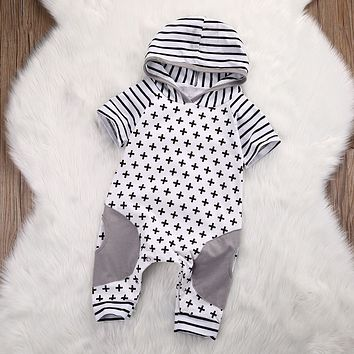 Baby Girl/Boy Clothing Hooded Romper Cross Short Sleeve Jumpsuit