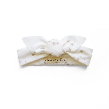 Stars in the Zodiac Gold on White Constellations Organic Stretch Knit Head Tie For Babies