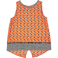 River Island Mini girls orange puffin print split back top
