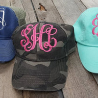 Monogrammed Pigment Dyed Baseball Caps Girls Ladies Low Profile Adams Camo Trucker - Edit Listing - Etsy