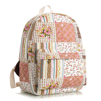 Floral Stripes Canvas Lovely Cute Animal Korean Striped Backpack = 4888003716