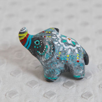 SALE!!!  Lucky elephant. Animal totem - Polymer clay animal OOAK figurine, talisman, amulet