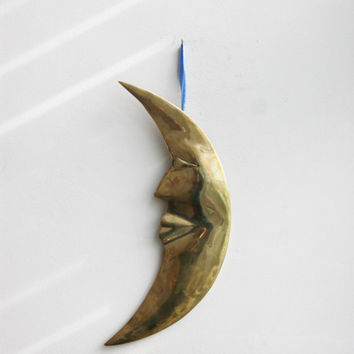 Moon wall sculpture, vintage brass, crescent moon sculpture with eye and mouth, Greek folk art, brass moon wall hanging, mid eighties