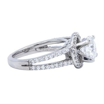 7mm Round Moissanite Split Shank Cathedral Diamond Halo Engagement Ring 1.45 Carat Total Weight