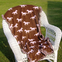 Brown and Pink Horse Fleece Baby or Lap by kayscrochetpatterns